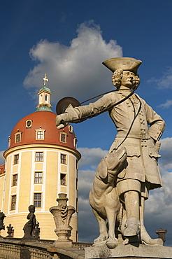 Baroque statue at Moritzburg Castle, Moritzburg, Sachsen, Germany, Europe