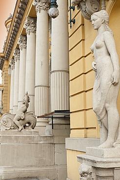 Statues and decorations around entrance of Szechenyi Baths, City Park, Budapest, Hungary, Europe