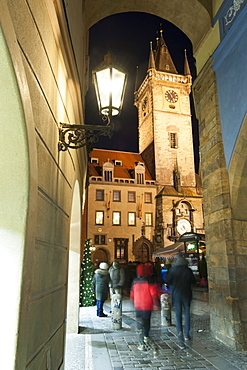 Gothic Old Town Hall at twilight, Old Town Square, UNESCO World Heritage Site, Prague, Czech Republic, Europe