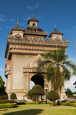 Park with plants and trees around Victory Gate (Patuxai), Vientiane, Laos, Indochina, Southeast Asia, Asia
