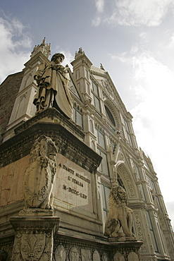 Dante and the facade of Santa Croce church, Florence, Tuscany, Italy, Europe