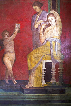 The Baccantis before the feast in the Triclinium in the Villa dei Misteri, Pompeii, UNESCO World Heritage Site, Campania, Italy, Europe
