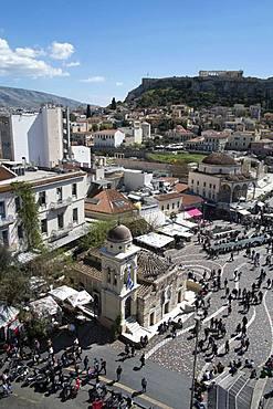 High view of the Parthenon from Monastiraki Square in the Plaka district, Athens, Greece, Europe