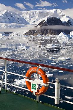 Antarctic Dream ship, Gerlache Strait, Antarctic Peninsula, Antarctica, Polar Regions
