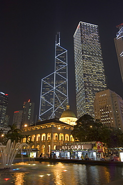 Statue Square, Old Supreme Court Building in front of the Bank of China Tower, Cheung Kong Centre and Sin Hua Bank, Central district, Hong Kong, China, Asia