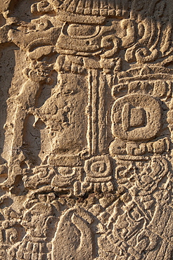 Detail of a Stela, Mayan archaeological site, Tikal, UNESCO World Heritage Site, Guatemala, Central America