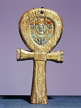 Mirror case in the form of an ankh, the sign of life, made of gilt wood inlaid with glass-paste, from the tomb of the pharaoh Tutankhamun, discovered in the Valley of the Kings, Thebes, Egypt, North Africa, Africa
