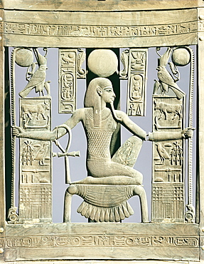 Detail of the back of a chair decorated with royal names and with the spirit of millions of years, from the tomb of the pharaoh Tutankhamun, discovered in the Valley of the Kings, Thebes, Egypt, North Africa, Africa