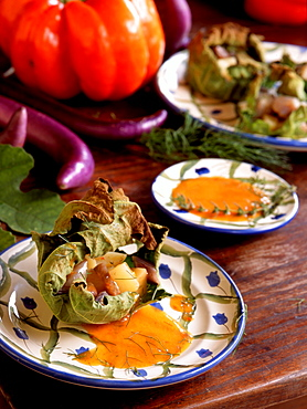 Aubergines and potatoes in fig leaf and vinaigrette, Italy