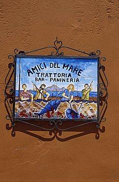 Sign of Amici del Mare Restaurant, Favignana, Aegadian Islands, Sicily, Italy