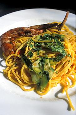 Pasta with marrow, La Torre restaurant, Numana, Marche, Italy.