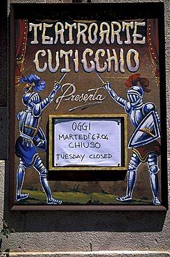 Pupi theatre, Palermo, Sicily, Italy