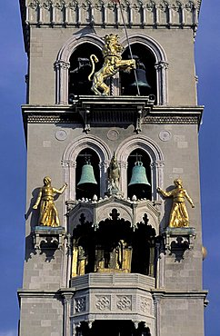 Particular of Cathedral's belltower, Messina, Sicily, Italy