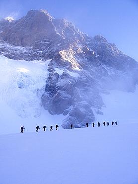 Alpinists, Piz Zupò, Bernina group, Lombardy, Italy