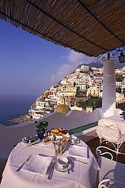 View from Le Sirenuse hotel, Positano, Amalfi Coast, Campania, Italy