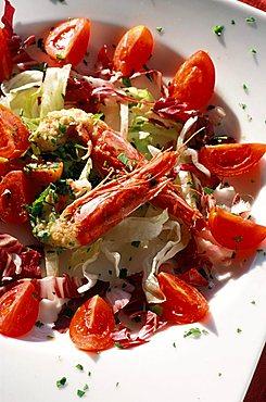 Prawn salad, Il Tramonto restaurant, Ponza island, Lazio, Italy