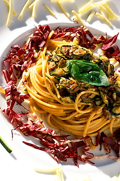 Spaghetti pasta with fried courgettes, Il Tramonto restaurant, Ponza island, Lazio, Italy