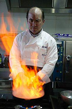 """In the kitchen, """"Orestorante"""" restaurant, Ponza island, Lazio, Italy"""