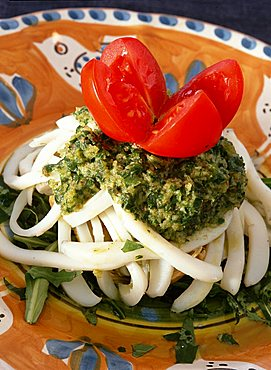 """Cuttlefish salad on artichokes bed with green caper-sauce, """"Orestorante"""" restaurant, Ponza island, Lazio, Italy"""