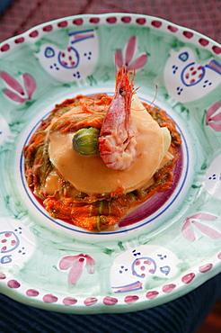 Little lasagne of crayfish with potatoes, Orestorante restaurant, Ponza island, Lazio, Italy