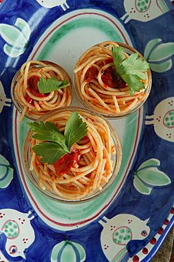 Spaghetti pasta with tomato sauce, Orestorante restaurant, Ponza island, Lazio, Italy
