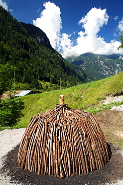 """""""Poiat"""" typical charcoal pile, Val Daone, Trentino Alto Adige, Italy"""