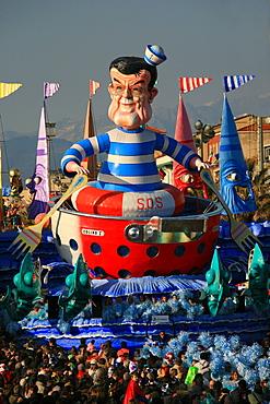 Romano Prodi mask, Carnival 2007, Viareggio, Tuscany, Italy