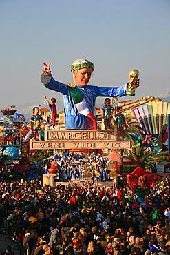 Marcello Lippi mask, Carnival 2007, Viareggio, Tuscany, Italy