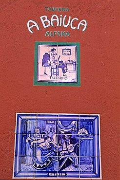 On a wall, Alfama quarter, Lisbona, Portugal, Europe