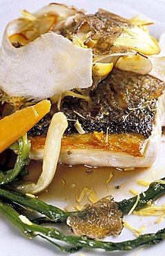 Sea bass slice with pore mushrooms and black truffles, Torre del Saracino restaurant, Vico Equense, Campania, Italy