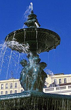 Fountain, Rossio quarter, Lisbona, Portugal, Europe