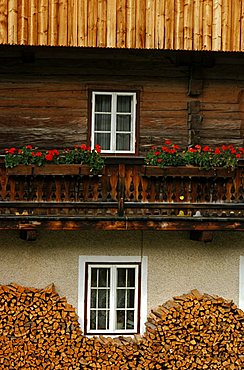 Balcony, Typical building (Maso), Val Pusteria, Trentino Alto Adige, Italy