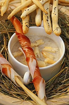 Soup of Valdaora bread and breadsticks with speck, Hotel Mirabell, Valdaora, Val Pusteria, Trentino Alto Adige, Italy