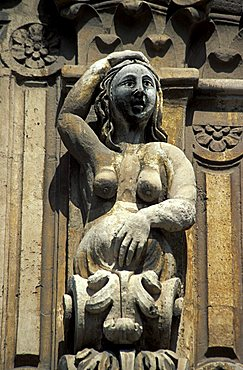 Particular of façade, Benedictine monastery, Catania, Sicily, Italy