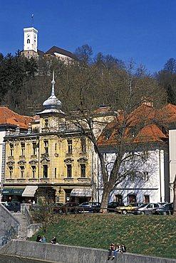 Ljubljanica river under the castle, Ljubljana, Slovenia, Europe