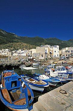 Cityscape with Marina Nuova port, Marettimo island, Egadi islands, Sicily, Italy