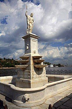 Neptune statue, Malecon promenade, Havana, Cuba, West Indies, Central America