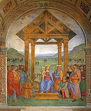 Spagna fresco, Madonna delle Lacrime church, Trevi, Umbria, Italy, Europe