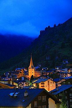 View of town, Zermatt, Valais, Switzerland, Europe
