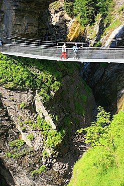 Bridge built over the thermal springs, Leukerbad, Vallese, Switzerland, Europe