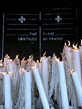 Candles in Lourdes, France, Europe