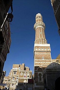 Minaret, Sana'a, Yemen, Middle East