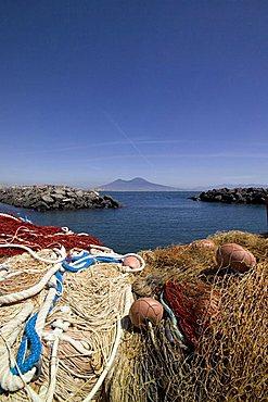 Nets in small harbour of Mergellina, Napoli, Campania, Italy, Europe