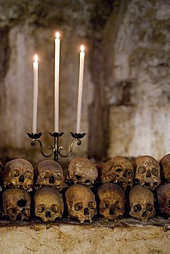 Ossuary of Santo Spirito church, Campagna village, Picentini mountains, Salerno, Campania, Italy, Europe