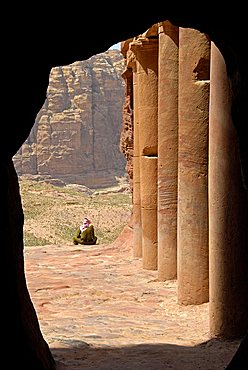 Guard, archaeological site of Petra, Jordan, Middle East