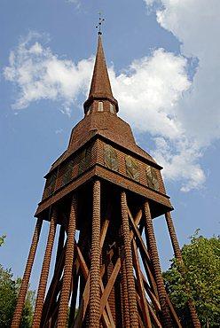 Wooden bell tower, Skansen, open air museum, Djurgården island, Stockholm, Sweden, Scandinavia, Europe
