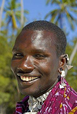 A Maasai tribesman, Zanzibar, United Republic of Tanzania, Africa