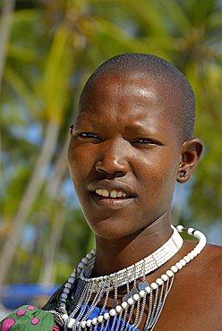 A Maasai woman, Zanzibar, United Republic of Tanzania, Africa