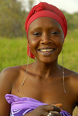 Portrait of a young woman, Republic of Senegal, Africa