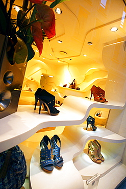 Shoes shop window, Via della Spiga, Milan, Lombardy, Italy, Europe
